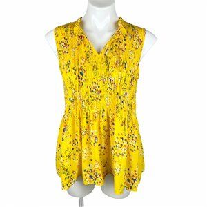 NWT Rose & Olive Yellow Floral Smocked  L